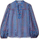 Ulla Johnson Constance Printed Silk-jacquard Blouse - Blue