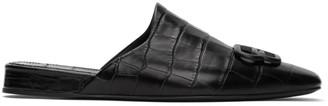 Balenciaga Black Croc BB Mules