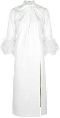 16Arlington 16 Arlington Fujiko White Feather-trimmed Midi Dress