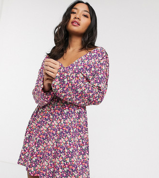 Asos DESIGN Petite long sleeve mini dress with shirred waist in pink ditsy print