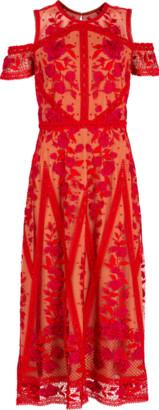 Marchesa Notte Cold Shoulder Cocktail Dress