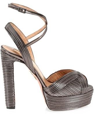 Aquazzura Caprice Metallic Leather Platform Sandals