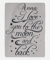 Gray Personalized 'To the Moon' Blanket