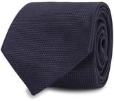 Drake's Navy Checked-weave Silk Tie