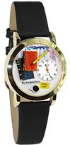 Whimsical Watches Women's C0450003 Classic Gold Book Lover Black Leather And Goldtone Watch