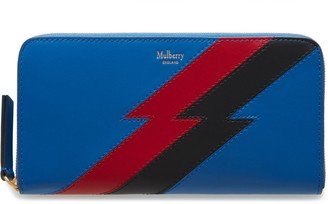 Mulberry 8 Card Zip Around Wallet Porcelain Blue Multi-Colour Flash