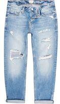 River Island MensLight blue distressed Dean straight jeans