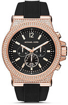 Michael Kors Dylan Crystal-Bezel Chronograph & Date Silicone-Strap Watch