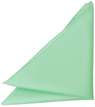 DQT Men Plain Solid Check Mint Green Pocket Square
