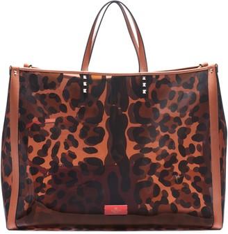 Valentino Garavani Large Grande Clear Leopard Tote