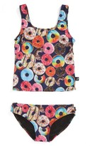 Girl's Terez Donut Print Two-Piece Tankini Swimsuit