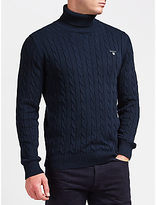 Gant Cotton Cable Turtleneck Jumper, Evening Blue