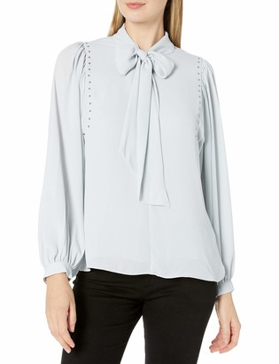 Vince Camuto Women's Long Sleeve Puff Shoulder Embellished Tie Front Blouse