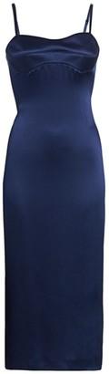 Brandon Maxwell Silk Sweetheart Midi Slip Dress