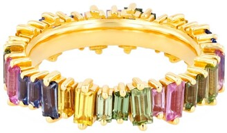 Suzanne Kalan Yellow Gold and Pastel Sapphire Fireworks Eternity Ring (Size 6.5)