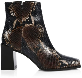 Aquatalia Emilee Snakeskin-Embossed Leather Ankle Boots