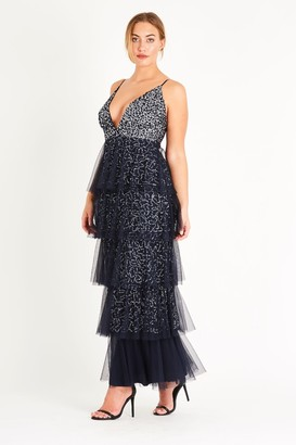 Lace & Beads strappy sequin maxi dress with a soft mesh layered skirt