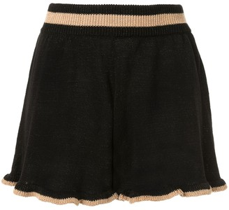 SUBOO Mimi ruffled-knit shorts