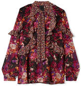 Anna Sui Butterflies And Bells Ruffled Printed Silk-jacquard Blouse - Magenta