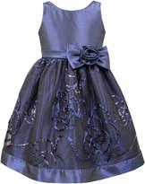 Sorbet Taffeta Dress with Sequin Soutache Skirt, Navy, 2T-6X