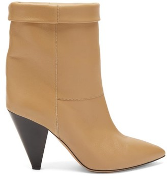 Isabel Marant Luido Leather Ankle Boots - Beige