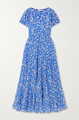 Rixo Tamara Tiered Floral-print Cotton-blend Maxi Dress - Blue