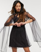 Thumbnail for your product : Forever U organza dress with tie neck detail in black