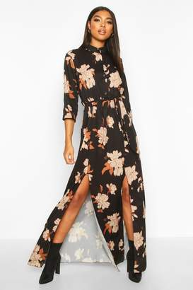 boohoo Tall Floral Print Maxi Shirt Dress