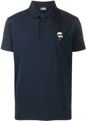 Karl Lagerfeld Paris Logo-Patch Short Sleeved Polo Shirt