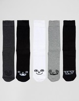 Asos Socks With Funny Faces Design In Monochrome 5 Pack
