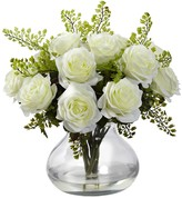 Nearly Natural White Rose & Maiden Hair Floral Arrangement with Vase