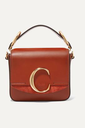 Chloé C Mini Suede-trimmed Leather Shoulder Bag - Brown