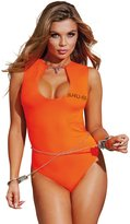Dreamgirl Women's Convict-themed Teddy With Chain and Handcuffs