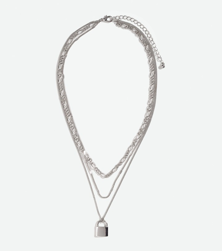 Thumbnail for your product : New Look Layered Padlock Necklace
