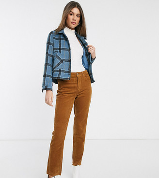 Only Tall cord straight leg trousers in brown