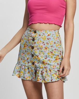 Topshop Petite Petite Floral Tie Button Skirt
