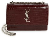 Saint Laurent Mini Monogram Sunset Croc Embossed Leather Shoulder Bag - Red