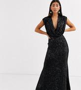Jarlo Petite wrap front sequin gown in black
