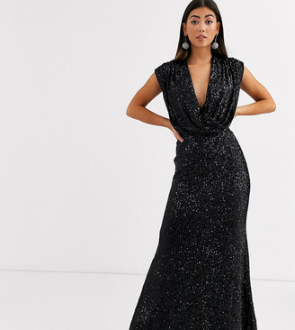 Jarlo Petite wrap front sequin gown in black