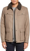Kenneth Cole New York Men's Faux Shearling Collar Wool Blend Jacket