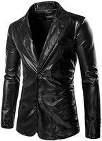 uxcell® Men Notched Lapel Padded Shoulder Slim Fit Metallic Blazer M