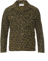 Saint Laurent Camouflage leopard-print field jacket