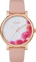 Timex R) Full Bloom Crystal Floral Leather Strap Watch, 38mm