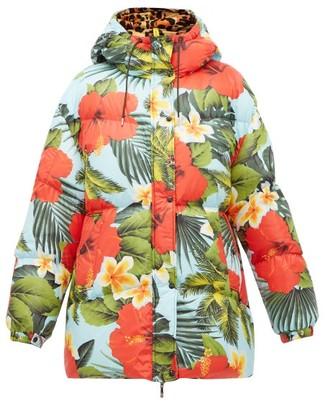0 Moncler Genius Richard Quinn - Mary Tropical-print Down Jacket - Blue Multi