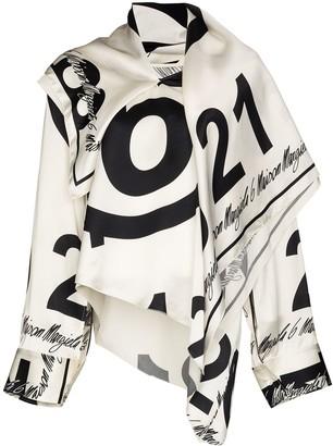 MM6 MAISON MARGIELA Number-logo draped blouse