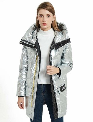 Bellivera Women's Duck Down Jacket Hooded Packable Ultra Light Weight Parka Coat 9295 Silver Small