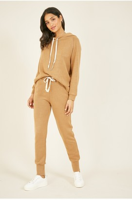 Yumi Camel Jersey Loungewear Hoodie and Joggers Co ord Set
