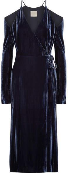 Dion Lee Cold-shoulder Velvet Wrap Dress - Navy