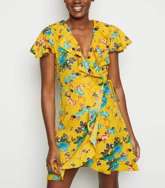 New Look Mela Floral Frill Trim Wrap Dress