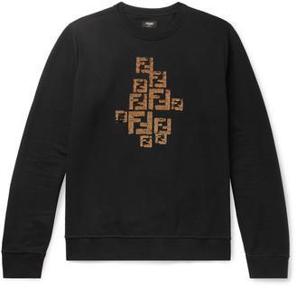 Fendi Logo-Embellished Fleece-Back Cotton-Jersey Sweatshirt